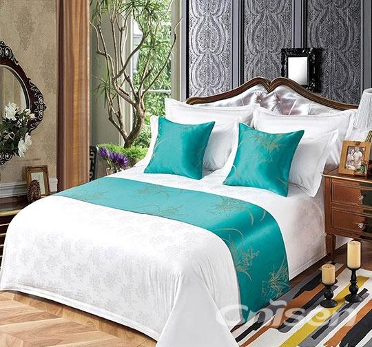 酒店素色提花布草床围巾