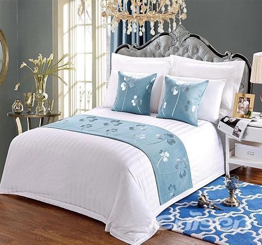 酒店蓝色小叶子布草床围巾