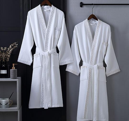 双层华夫格割绒和服领浴衣加绣花